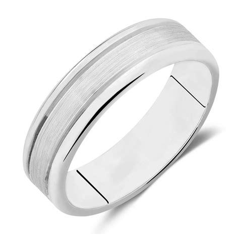 mens wedding band  kt white gold