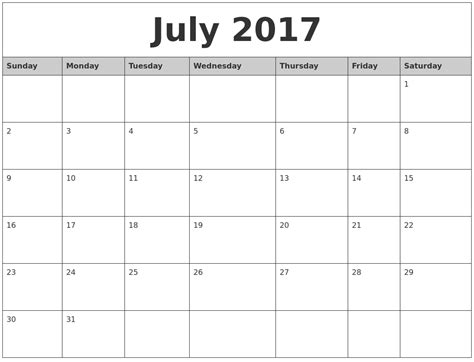 Printable Monthly Calendar July 2017 Monthly Calendar Printable