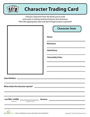 character card templates character trading card worksheet education