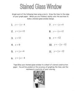 Stained Glass Window Worksheet by Slope Intercept Form Worksheets Doc Graphing Lines