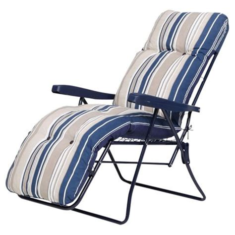 garden reclining chairs buy padded garden reclining chair blue stripe from our