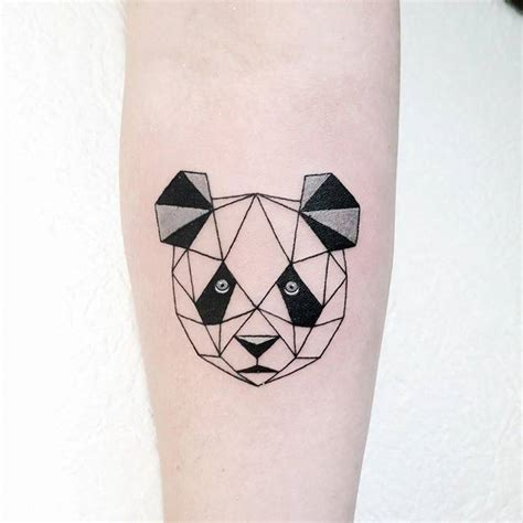 doc tattoo quebec polygonal panda bear tattoo on the right inner forearm
