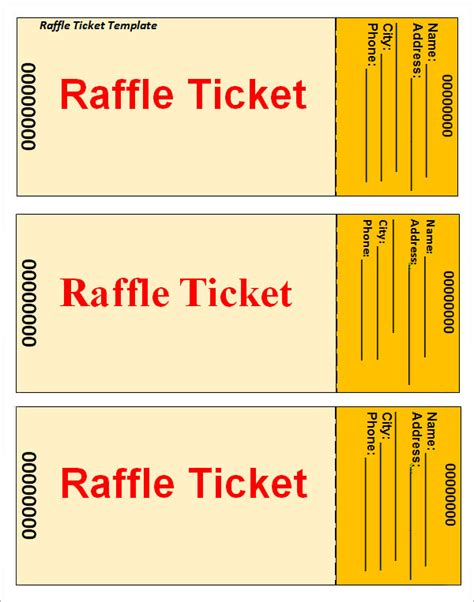 printable raffle ticket template sle raffle ticket template 20 pdf psd illustration