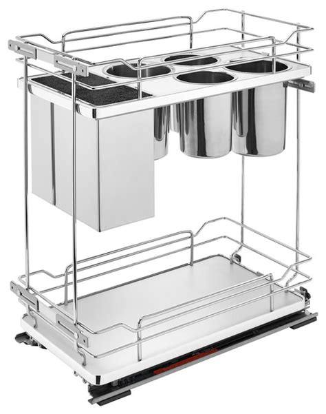 8 quot two tier pull out wire organizer with knife block