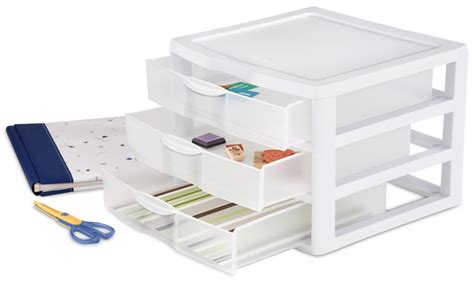 3 Drawer Wide Plastic Storage Unit by New Sterilite 20938003 Wide Portable Countertop 3 Drawer