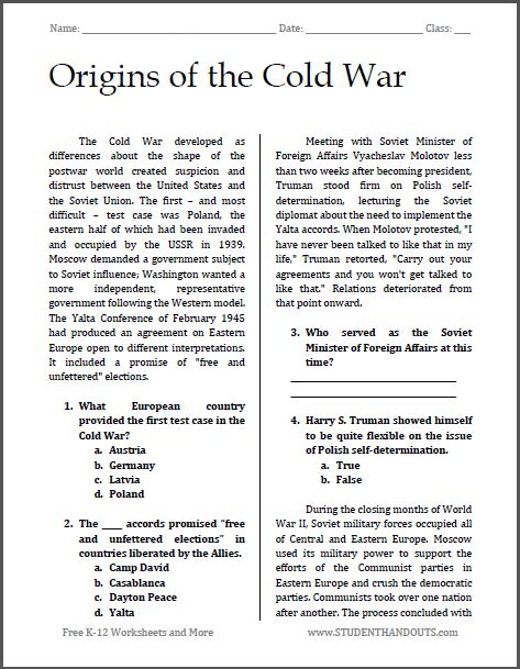 Origins Of The Cold War Essay by Origins Of The Cold War Reading With Questions