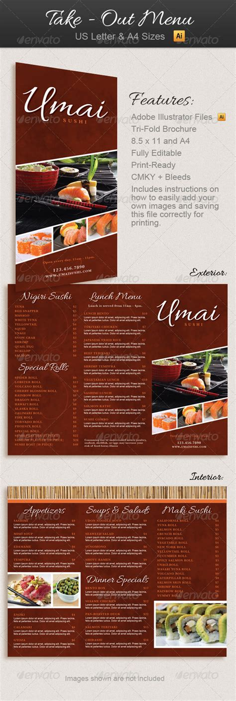 restaurant take out menu trifold brochure graphicriver