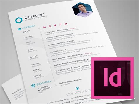 Free Template Indesign indesign template free hexagon vita resume cv by sven