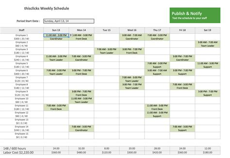 weekly employee shift schedule template