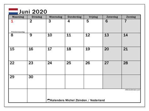 kalender juni  nederland michel zbinden nl