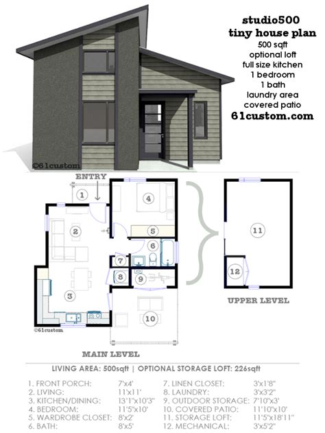 Tiny Modern House Plans | studio500 modern tiny house plan 61custom