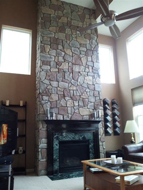 Faux Fieldstone Fireplace fireplace transformation with fieldstone creative faux
