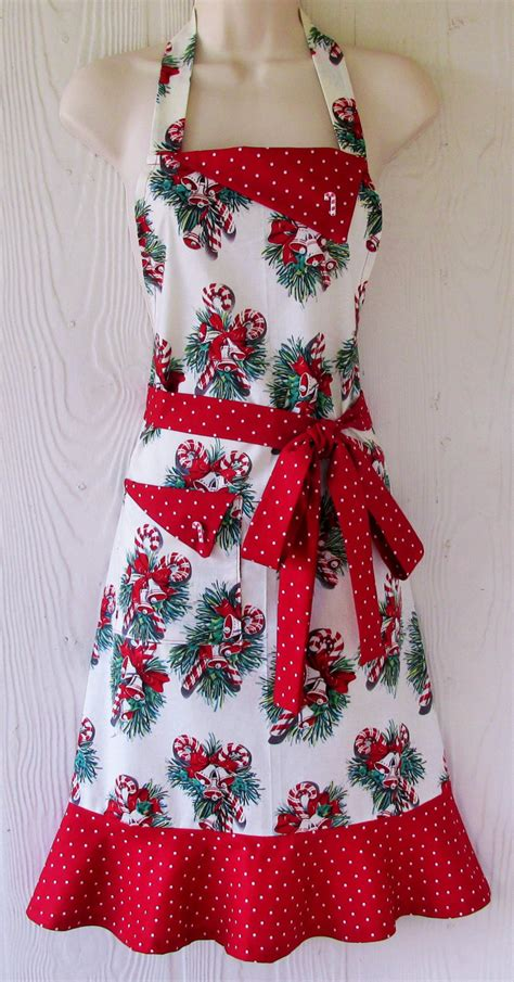 christmas apron retro christmas apron with candy canes and