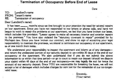 Lease Giving Notice commercial lease termination letter to landlord sle