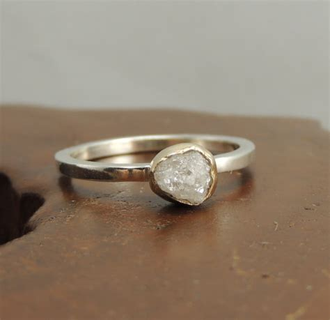Handmade Diamonds - white engagement ring 14k gold and sterling