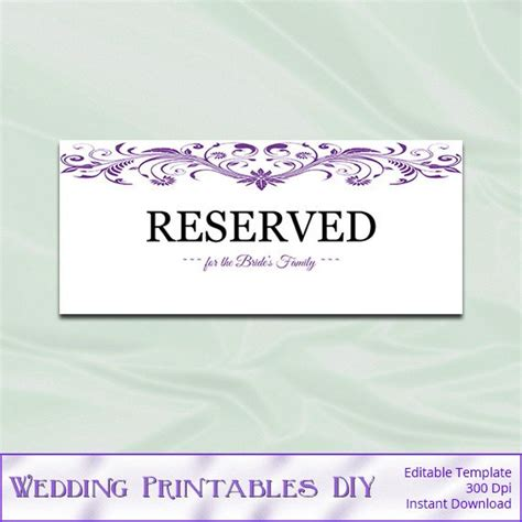 reserved tent card template purple wedding reserved sign template diy by