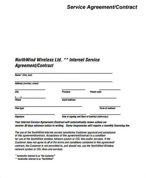 15 Simple Service Contract Sles Sle Templates Simple Service Contract Template