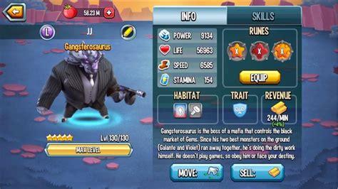 video de monster monster legends gangsterosaurus max level 130 combat