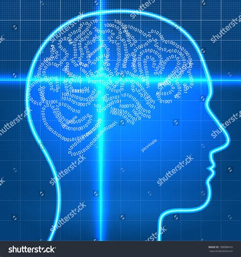 research paper on blue brain digital artificial intelligence brain on scan stock vector