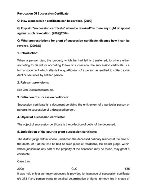 Succession Certificate Letter Administration Revocation Of Succession Certificate