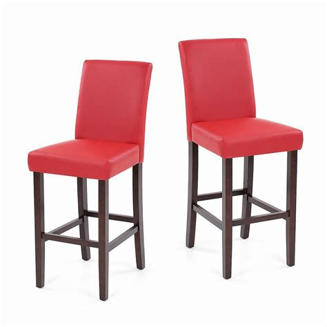Pub Dining Chairs Us Ikayaa Faux Leather Bar Pub Dining Chairs High Back Wood Frame Padded Kitchen Side Parson