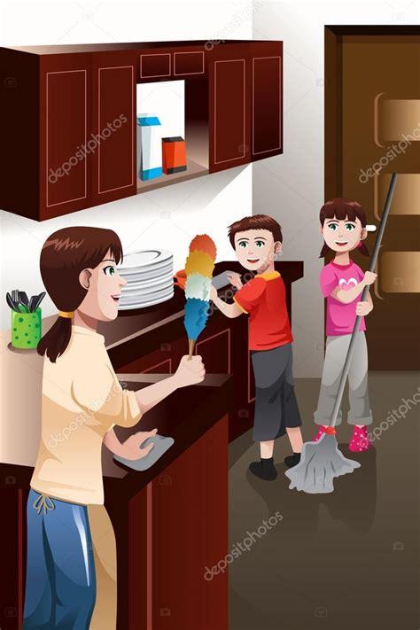 imagenes graciosas limpiando la casa ni 241 os ayudando a sus padres limpiando la casa vector de