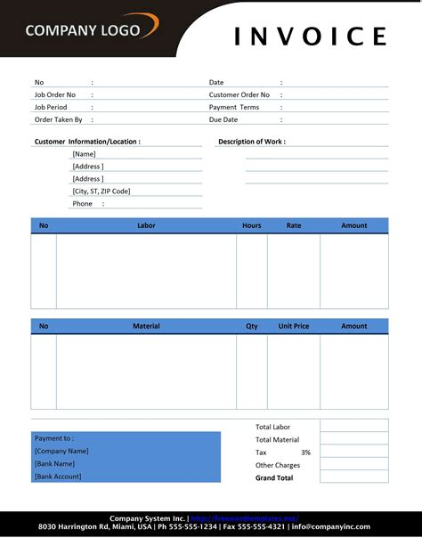 labour invoice template labor invoice template free free business template