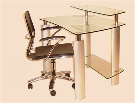 chintaly imports computer desk with clear glass top and