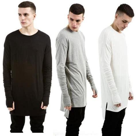 T Shirt Kaos Eminem new thumb cuffs sleeve high low side split