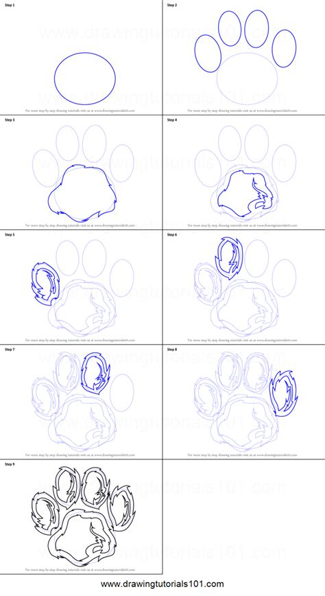 how to draw a paw how to draw a tiger paw printable step by step drawing sheet drawingtutorials101