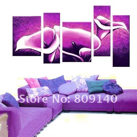 purple home decorations free shipping flower painting canvas abstract purple