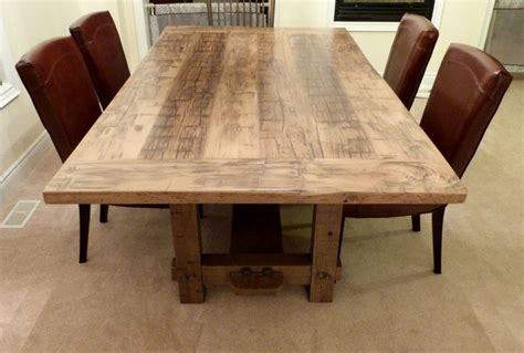 reclaimed wood dining room table luxury single reclaimed hand hewn elm rustic 4x4 trestle table with weathered