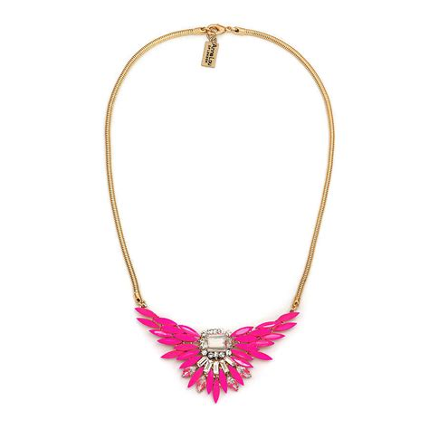 pink necklace neon pink statement necklace by lou of