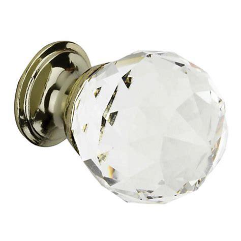 Wickes Kitchen Door Knobs by Wickes Faceted Glass Knob Brass 30mm 4 Pack Wickes Co Uk