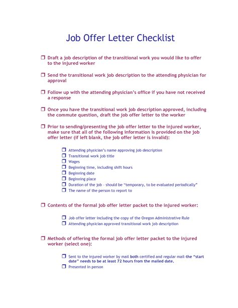 Offer Letter Responsibilities Best Photos Of Injured Employee Offer Letter Employee Return To Work Letter Offer