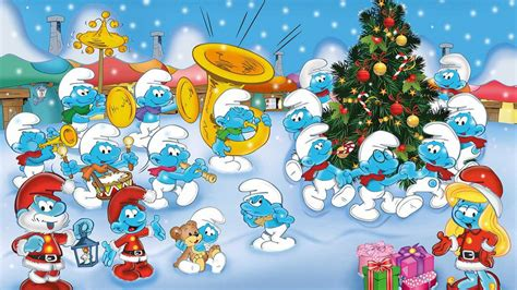 smurfs  orchestra cartoons merry christmas  happy  year coloring photo