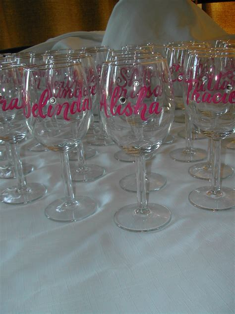 wine bridal shower favors brush lettering on wine glasses lettering studio