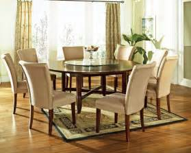 round table dining room 9 pc avenue 72 quot round dining table set with lazy susan by