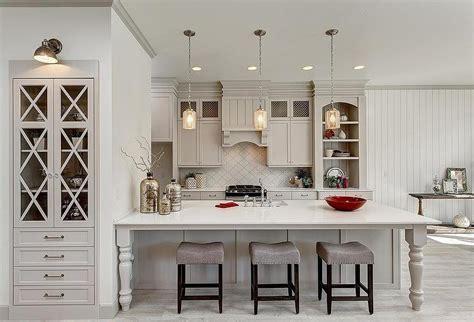 Light Gray Kitchen Cabinets with Arabesque Tile Backsplash   Transitional   Kitchen