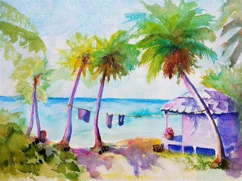 beach house paintings beach house tropical paradise painting by carlin blahnik