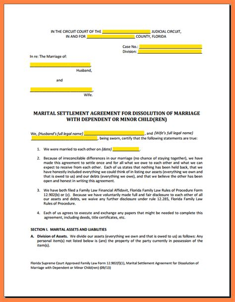 Divorce Settlement Property Letter Sle 3 Divorce Settlement Agreement Sle Marital