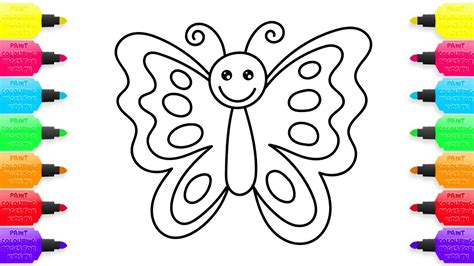 How To Draw Butterfly Creativity For Kids With Colored Markers Coloring Pages Animals Youtube Children Drawing Pictures For Painting