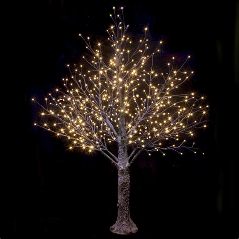 brown snowy twig tree warm white led lights christmas