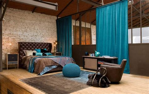 loft bedroom with brown and turquoise bedrooms