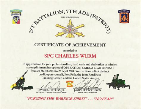 army certificate of achievement template army certificate of appreciation template masir