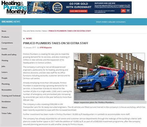 Heating And Plumbing Monthly 50 pp to fill read more in heating plumbing monthly pimlico plumbers