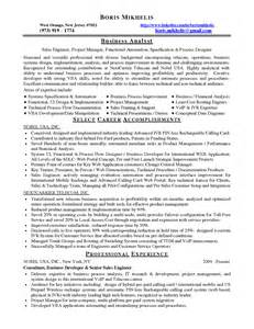 Process Engineer Resume Sle by Sle Resume Business Analyst Entry Sle Resume Book