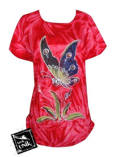 baju batik kaos lukis motif kupu madu etnik kaos murah