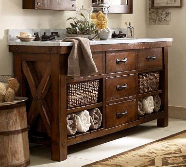Pottery Barn Sink Vanity by Benchwright Sink Console Rustic Mahogany Stain