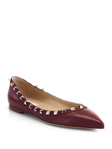 valentino shoes flats lyst valentino rockstud leather ballet flats in purple